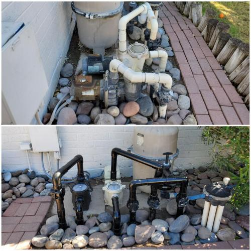 Before  After Pool Filter Pipes