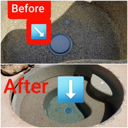 Before  After Spa Drain